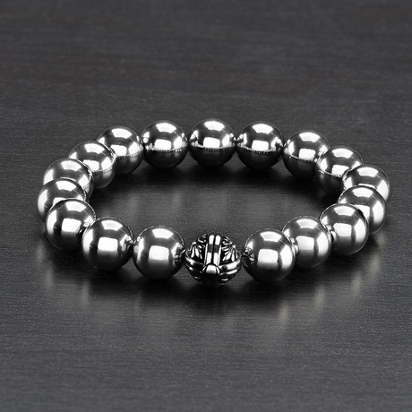 Crucible Polished Solid Stainless Steel Bead Bracelet // Silver