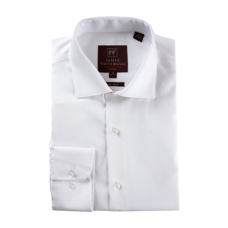 Long-Sleeve Non-Iron Pinpoint Ox Modern Fit Dress Shirt // White