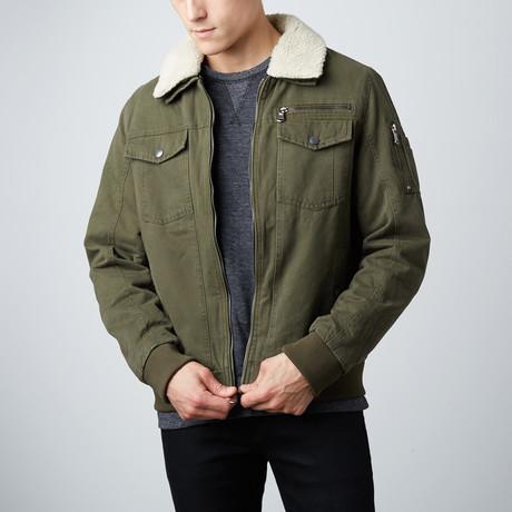 Maverick Cotton Aviator Jacket // Olive (S)