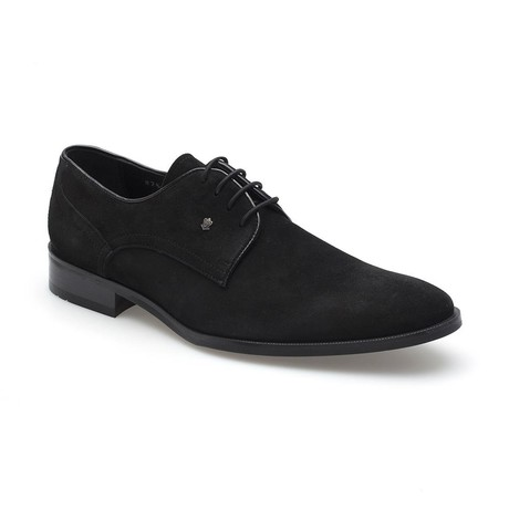 Saul Suede Plain Toe Derby // Black