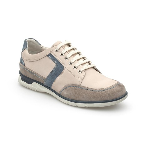 Samson Colorblocked Lace-Up Sneaker // Beige + White