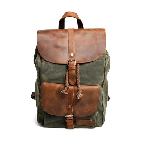 No. 750 Waxed Nylon Backpack (Black)