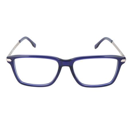Matt Angled Rectangle Thick Rim Frame // Blue