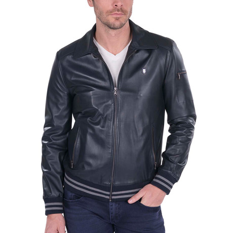 Iron Leather Jacket // Navy