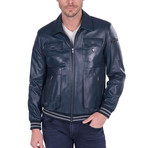 Hybrid Leather Jacket // Navy (3XL)