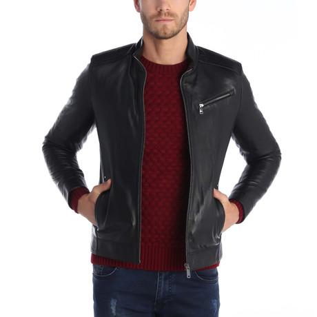 Topped Shot Leather Jacket // Black