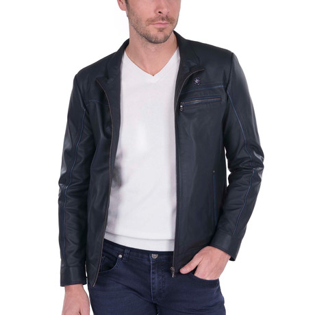 Shaft Leather Jacket // Navy (S)