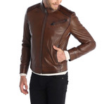 Touch Leather Jacket // Chestnut (XL)