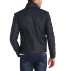 Whiff Leather Jacket // Navy Blue (XL)