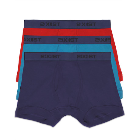 Essential Cotton Boxer Brief // Blue + Blue + Red // 3-Pack (S)