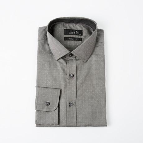 Textured Polkadot Button-Up Shirt // Gray