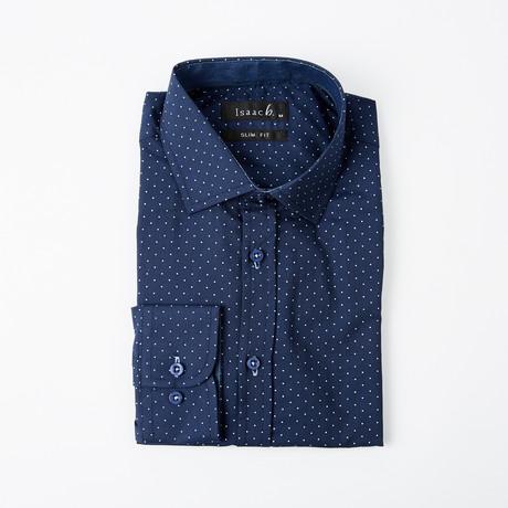 Polka Dot Print Button-Up Shirt // Navy