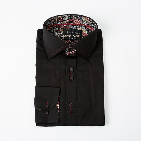 Flower Power Cuff Button-Up Shirt // Black + Red