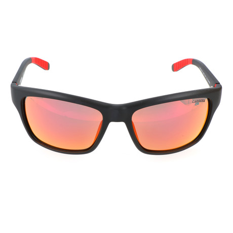 Rectangular Wrap-Around Sports Sunglass // Black + Orange