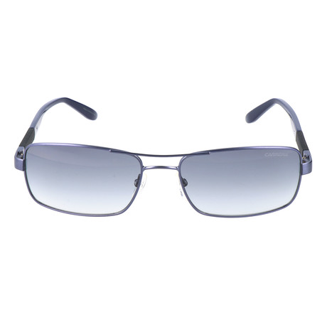 Rectangle Metal Sunglass // Silver + Blue