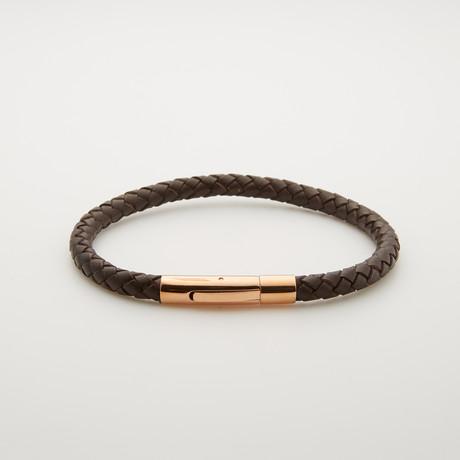 Leather + Rose Gold Bracelet // Brown