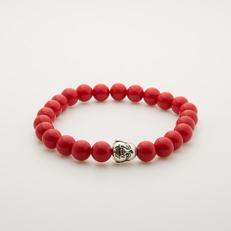 Coral Buddha Bracelet // Red