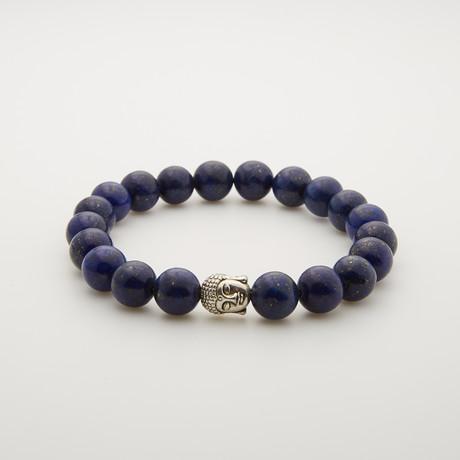 Agate + Silver Plated Buddha Bracelet // Blue