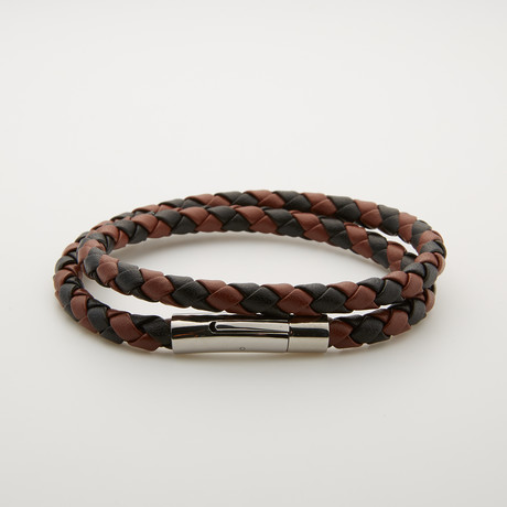 Leather + Stainless Steel Double Wrap Bracelet // Brown + Black