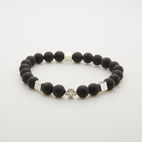 Onyx + Metal Cross Bead Bracelet // Black