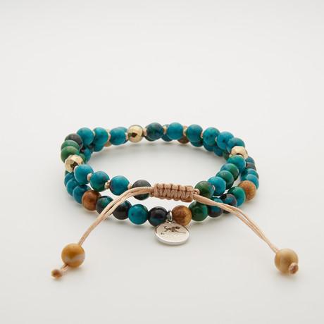 Peacock Stone Adjustable Shamballa Bracelet // Turquoise // Set of 2
