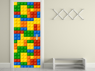 Photo of Walplus Self Adhesive Door Murals Building Blocks // Door Mural by Touch Of Modern