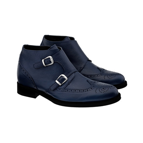 Canton Wing-Tip Double Monkstrap Chukka // Navy (US: 7)