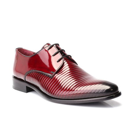 Alexander Patent Textured Stripe Derby // Bordeaux