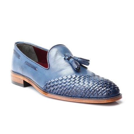 Woven Toe Tassel Loafer // Dark Blue (Euro: 40)