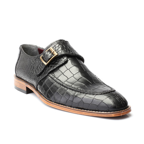 William Croc Embossed Single Monkstrap // Black (Euro: 39)