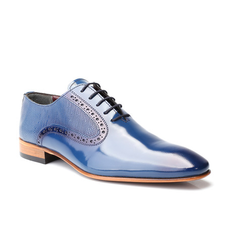 Oliver Scale Embossed Patent Brogue Oxford // Dark Blue (Euro: 39)