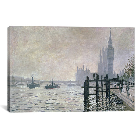 """The Thames below Westminster, 1871 (18""""W x 12""""H x 0.75""""D)"""