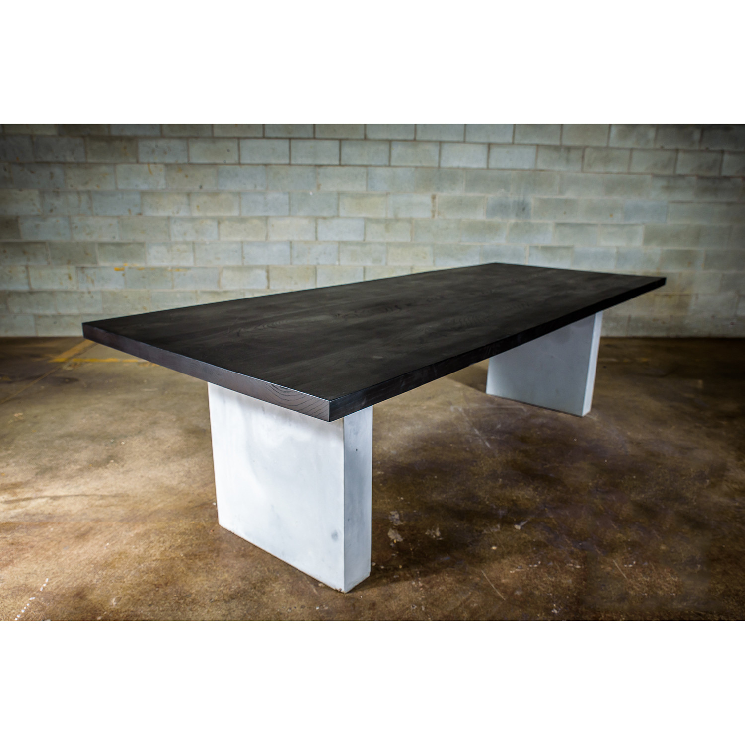 Dining Table Black Stained Ash Wood Concrete Legs L X W - Stained concrete table