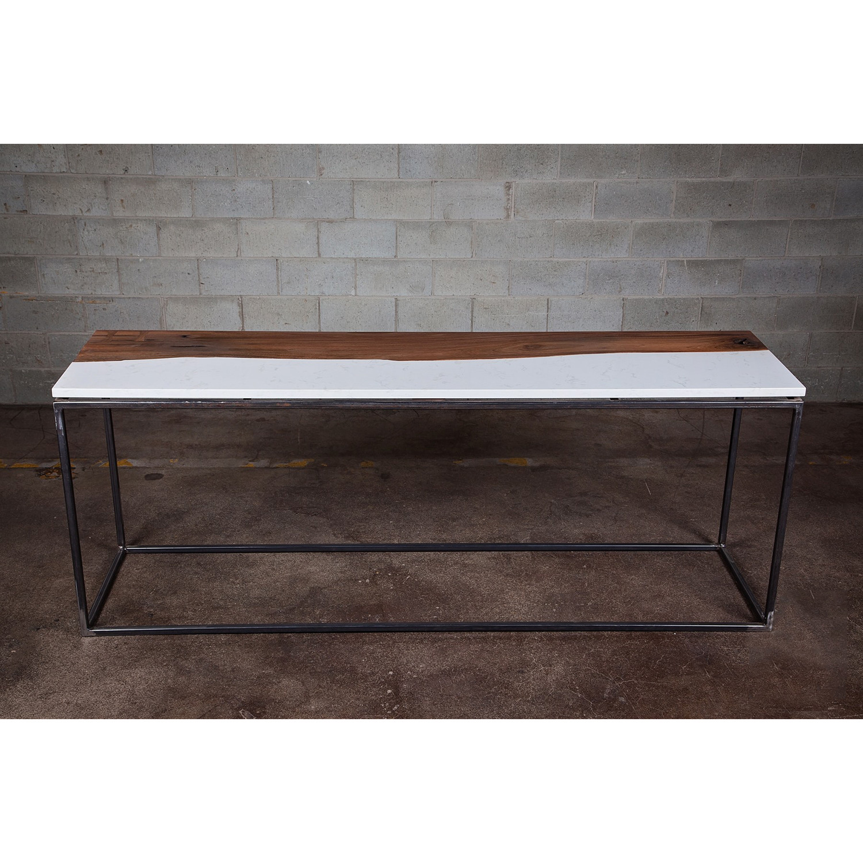 Coffee Table Live Edge Black Walnut Cambria Quartz 54 L X 24 W X 16 H Bois Design Touch Of Modern