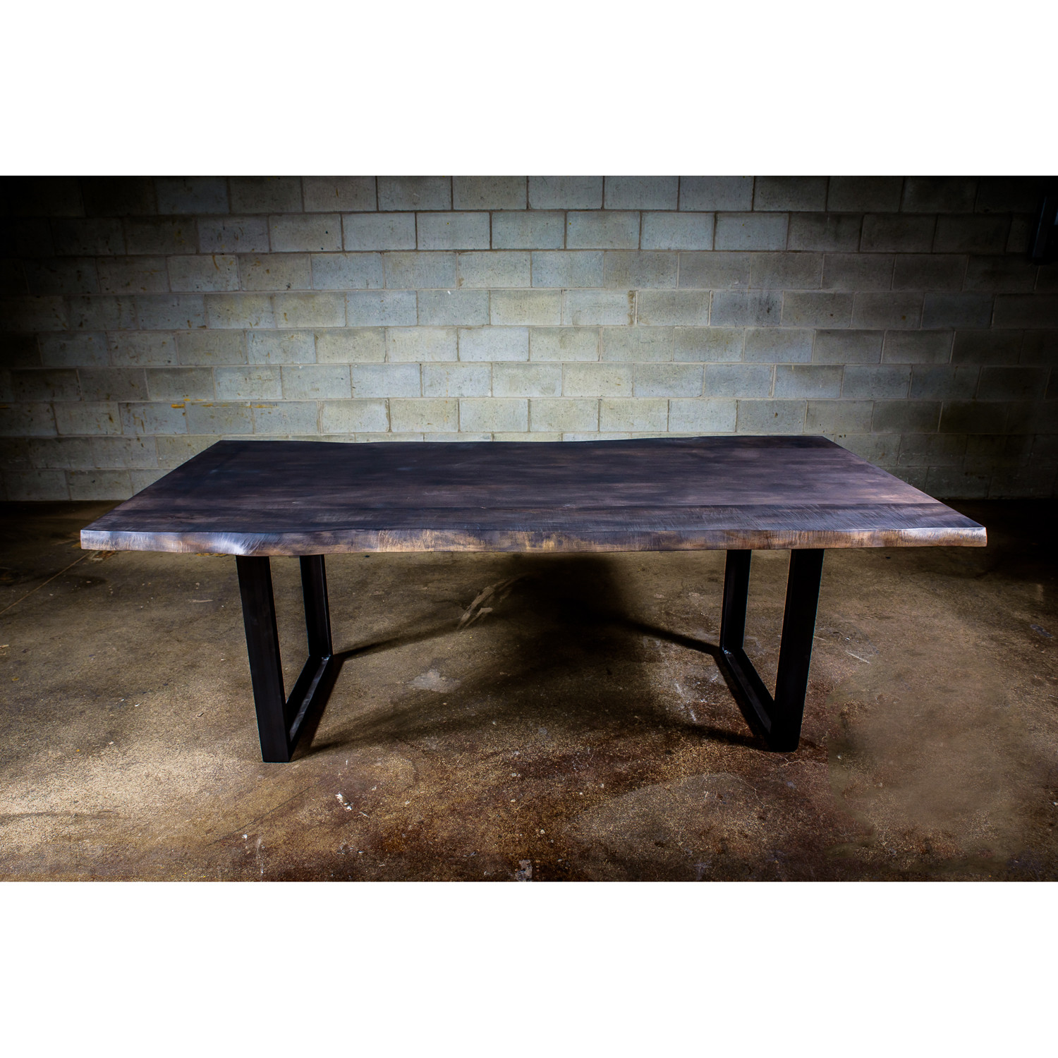 Dining table live edge maple steel legs 72 l x 38 w - Table bois metal design ...