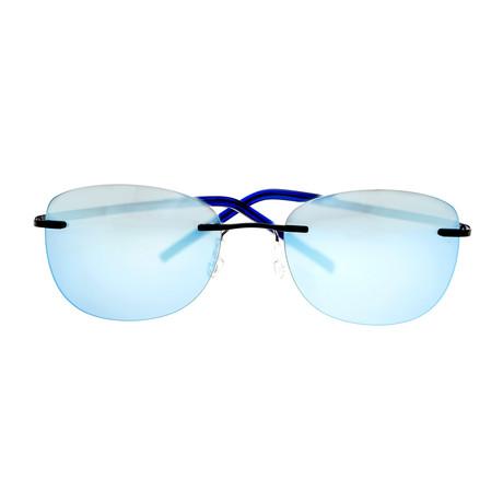 Matthias Polarized Sunglasses (Black Frame + Blue Lens)