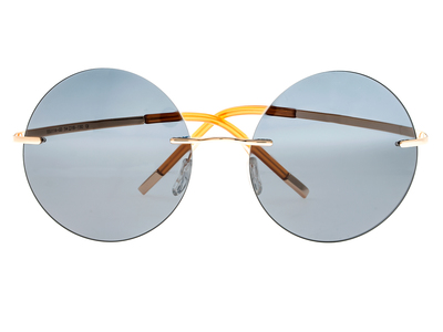 Photo of Simplify Retro-Inspired Sunglasses Christian // Gold Frame + Blue Lens by Touch Of Modern