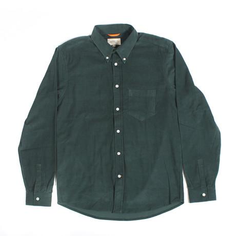Field Long Sleeve Corduroy Shirt // Dark Green