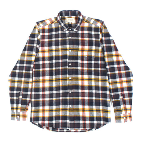 Larry Flannel Long Sleeve Shirt // Navy + Yellow Check