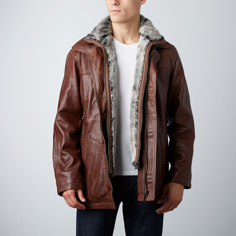 Yorker Fur Collared Jacket // Chestnut (S)