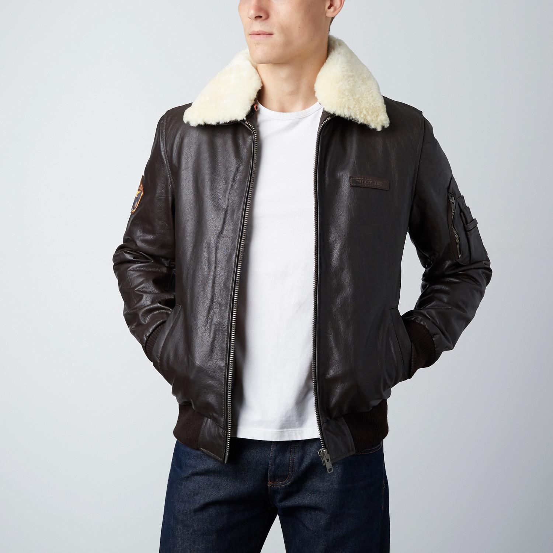 846d6b161 Aviator Sherpa Leather Jacket // Brown (M) - Everest Leatherwear LTD ...
