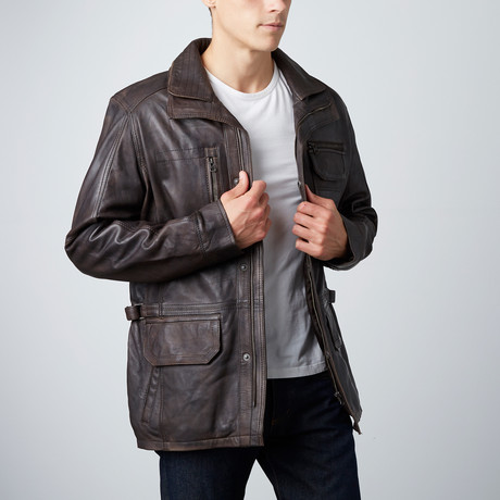 Leather Utility Jacket // Coffee
