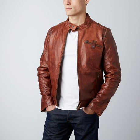 Racer Leather Jacket // Dark Tan