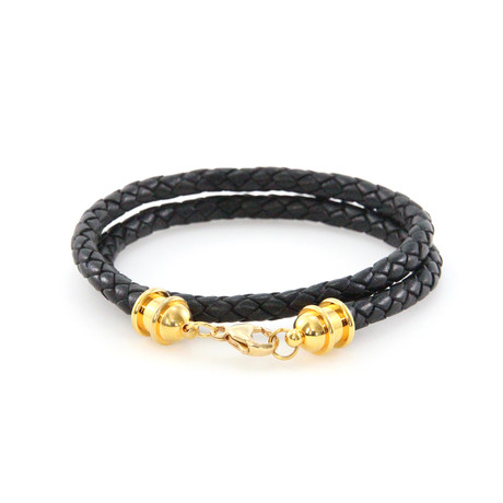 Leather Double Wrap // Gold + Black
