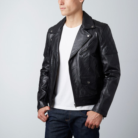 Paxton Quilted Shoulder Moto Jacket // Black