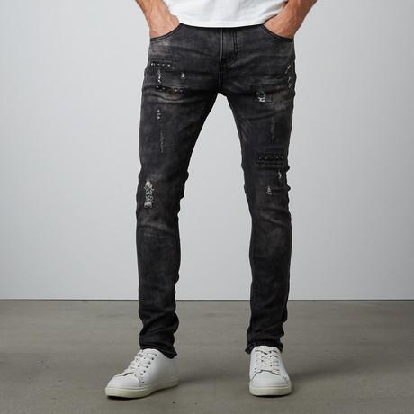 Spike Slim Straight Stretch Denim Pant // Black