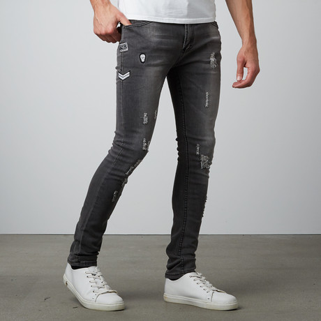 Washed Out Slim Straight Stretch Denim Pant // Grey