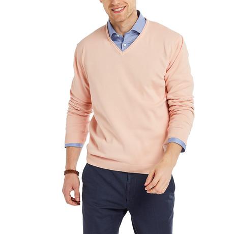 Cuba Garment Dyed V-Neck Pullover // Orange (S)
