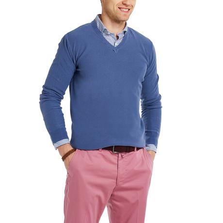 Barbuda Garment Dyed V-Neck Pullover // Indigo (S)