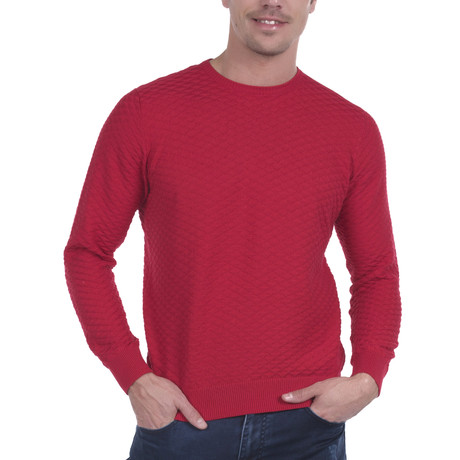 Camajuani Jaquard Round Neck Pullover // Red (S)